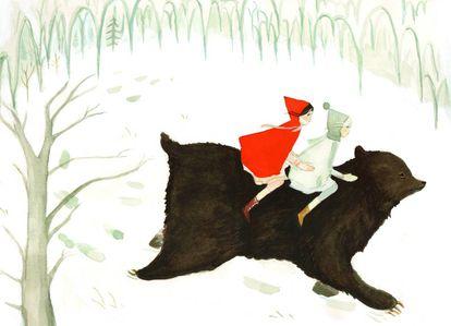 Ilustración del libro 'Nieve y rosa'.