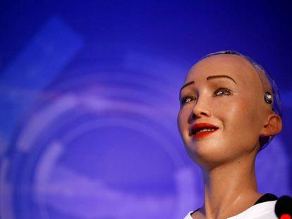 El robot Sophia, durante una feria de innovación en Katmandú (Nepal).