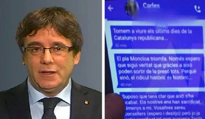 Mensajes de Puigdemont a través de Signal.