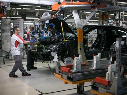 Cadena de montaje en la planta de Seat de Martorell.