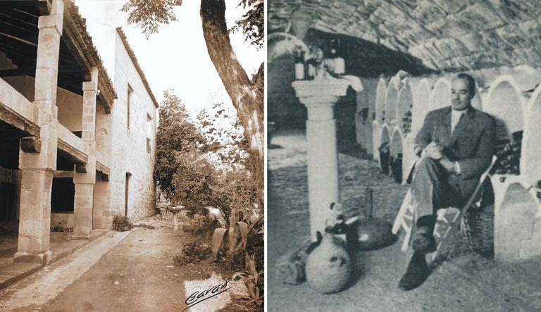 A la izquierda, vista exterior del Palacio de los Medinillas, en Úbeda, en los años setenta. A la derecha, Francis Guth selecciona un vino en la bodega.  