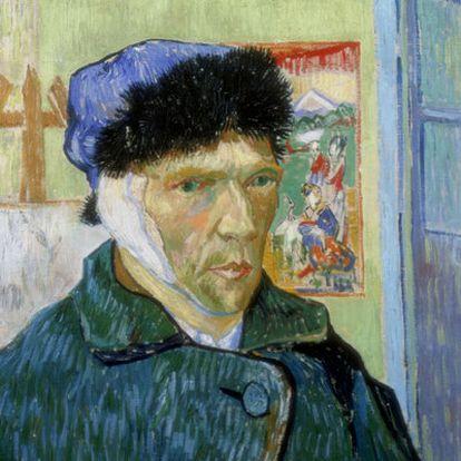 <i>Autorretrato con oreja cortada</i> (1889), un año antes de su muerte.