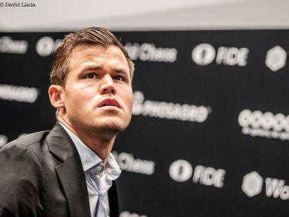 Magnus Carlsen, durante el Mundial de Londres 2018