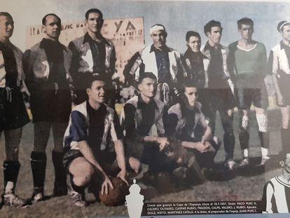 El equipo del Levante que ganó la final copera de 1937.