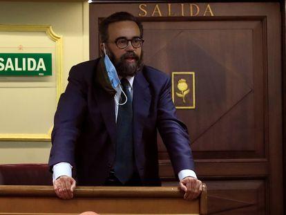 El diputado de Vox José María Sánchez, el pasado martes en el pleno del Congreso del que fue expulsado.