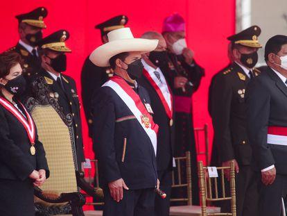El presidente de Perú, Pedro Castillo, en una ceremia de las fuerzas armadas, el 24 de septiembre, en Lima