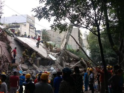 Un edificio tras el terremoto de 2017 en Ciudad de México.