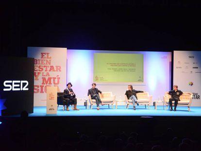 Héctor Márquez, Fidel Moreno, Ramoncín y Javier Ojeda, en su charla en el congreso de la SER.