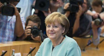 La canciller alemana, en una conferencia de prensa el viernes en Berlín.