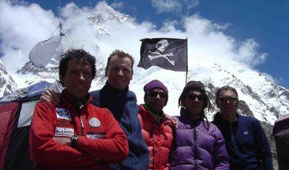 La expedición de 2004: Cadiach, De la Mata, Tosas, Corominas y Giró.