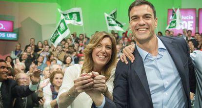 Susana Díaz y Pedro Sánchez, este sábado en Sevilla.