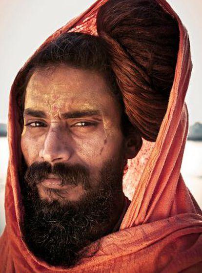 Mahant Sureshwar Giri, durante el kumbh mela, un peregrinaje que se realiza cuatro veces cada 12 años, en Allahabad en 2007.