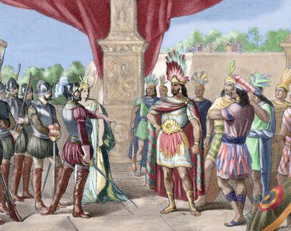 Grabado en color de 1875 que representa el momento en el cual Hernán Cortés toma prisionero a Moctezuma II, de autor anónimo.
