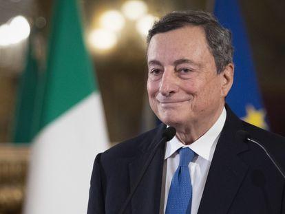 El exdirector del BCE, Mario Draghi, tras su reunión en Roma con el presidente italiano, Sergio Mattarella.