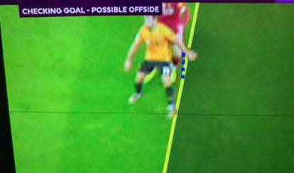 Fuera de juego de Jonny en el gol anulado al Wolverhampton