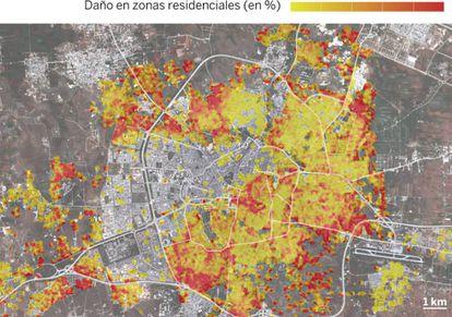 Mapa elaborado por la ONU sobre los efectos de la guerra en la ciudad de Alepo.