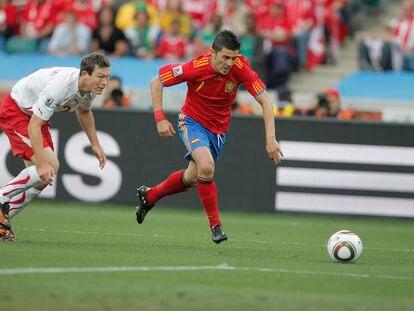 Villa, ante Suiza en el Mundial 2010.