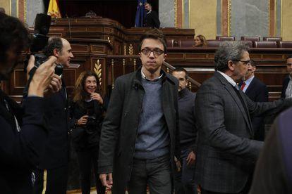 Íñigo Errejón, diputado de Podemos y candidato del partido al gobierno de Madrid, la semana pasada en el Congreso de los Diputados.