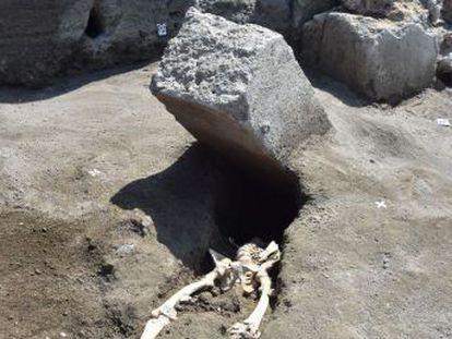 Los arqueólogos desentierran a una víctima del Vesubio que murió por el impacto de una piedra enorme