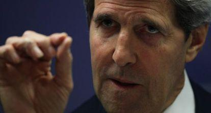 El secretario de Estado, John Kerry, durante la rueda de prensa en Brasilia.