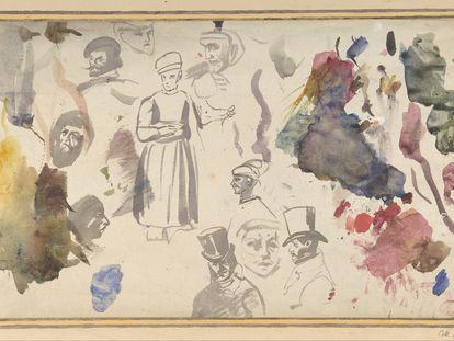 Estudios de cabezas y figuras masculinas de Delacroix.