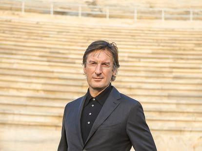 Pietro Beccari, en el estadio Panatenaico de Atenas.