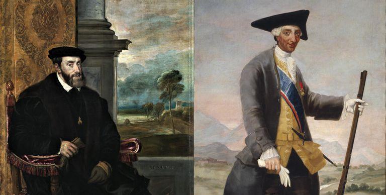 Dos de los retratos usados en el estudio. A la izquierda, el de un taciturno Carlos V sentado, obra de Tiziano. A la derecha, el Carlos III, cazador, pintado sonriente por Goya.