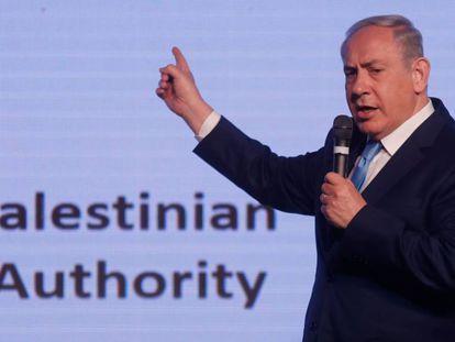 El primer ministro israelí, Benjamín Netanyahu, en una conferencia diplomática en Jerusalén.