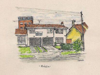Una de las 47 ilustraciones del libro Fachadas bogotanas.
