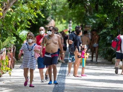Turistas en el parque Xcaret en Playa del Carmen, México, en septiembre del año pasado.