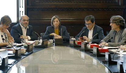 La presidenta del Parlament, Carme Forcadell, durante la reunión de la Junta de Portavoces del Parlament.