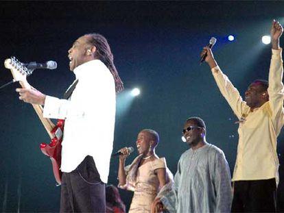 Gilberto Gil, Rokia Traoré y Youssou N'Dour, durante su intervención en el concierto.