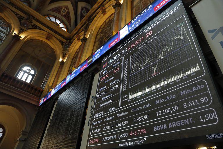 Interior de la sede de la Bolsa española, en Madrid.