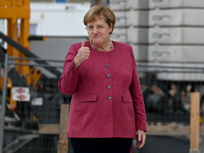 Merkel, tras poner la primera piedra de un centro de día el viernes de la semana pasada en Brandeburgo.