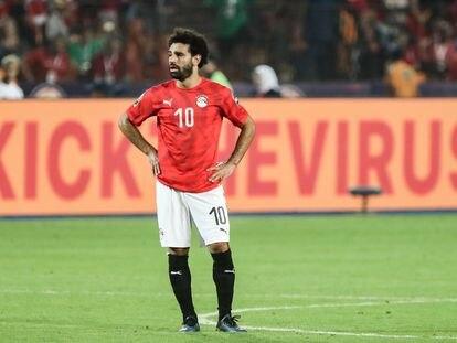 Mohamed Salah, durante un partido con su selección.