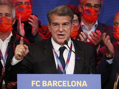 Joan Laporta, durante el primer discurso ofrecido como presidente electo del FC Barcelona.