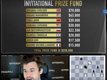 La tabla de premios; debajo, Carlsen, pletórico, pocos minutos después de su triunfo en la final
