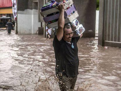 Un damnificado de las inundaciones en Sinaloa.