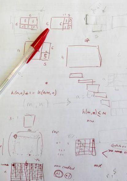 Cálculos a mano de un alumno de bachillerato.
