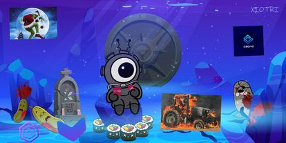 La mascota de Xiotri, un ecosistema con varias 'tokens', rodeada de un cementerio de 'criptocadáveres', bien víctimas de proyectos fracasados, bien de estafas.