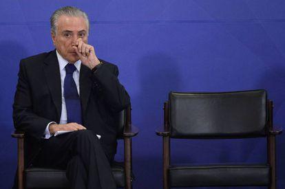 El presidente brasileño, Michel Temer, antes de una rueda de prensa en Brasilia, el 8 de febrero