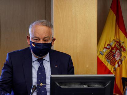 El ex Director Adjunto Operativo de la Policía Eugenio Pino comparece ante la reunión de la Comisión de Investigación relativa a la operación Kitchen este jueves en el Congreso.