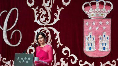 Isabel Díaz Ayuso, este sábado, durante la toma de posesión de su cargo como presidenta de la Comunidad de Madrid.
