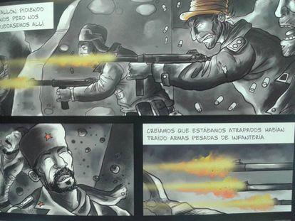 Viñetas de la versión en comic de 'Los panzers de la muerte'.