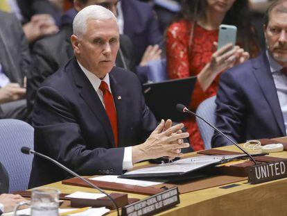 El vicepresidente Mike Pence interviene ante el Consejo de Seguridad