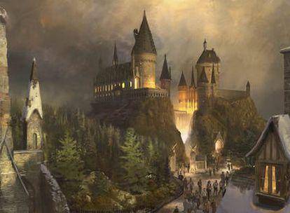 Dibujo de lo que será el parque de Harry Potter en Orlando, Estados Unidos