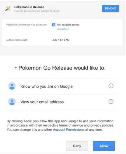 Evolución de los permisos que Pokémon Go requería antes y después de la actualización.