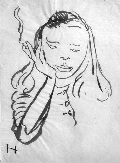 <i>Portrait de Nicole à la cigarette </i>(1947), de Apel·les Fenosa.