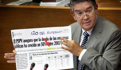 José Manuel Vela, consejero de Hacienda valenciano, en una intervención parlamentaria.