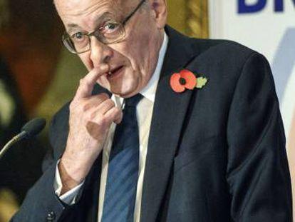 John Kerr, miembro de la Cámara de los Lores y autor de la cláusula de salida de la UE, en 2017 en Londres.